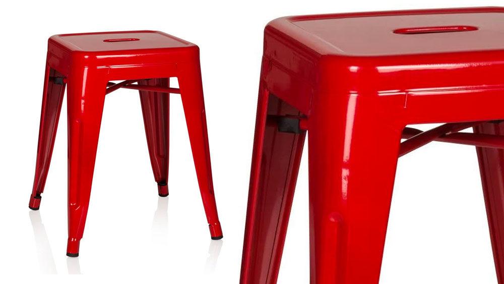 Sgabello in metallo Rosso dal Design industriale