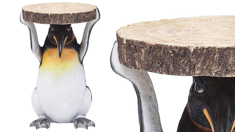 il tavolino scultura a forma di pinguino