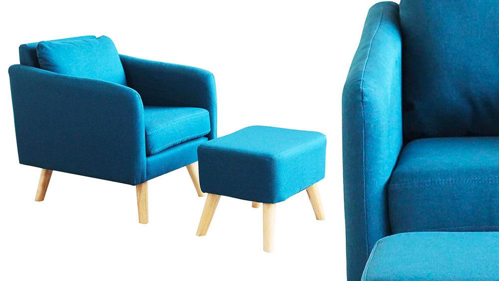 sedia e poggiapiedi anni 70