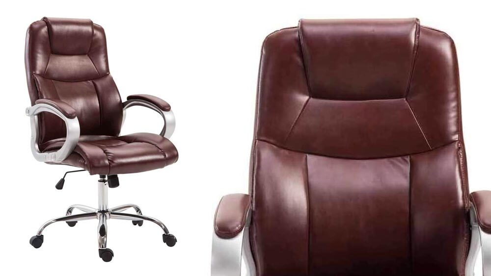 sedia da ufficio in pelle marrone