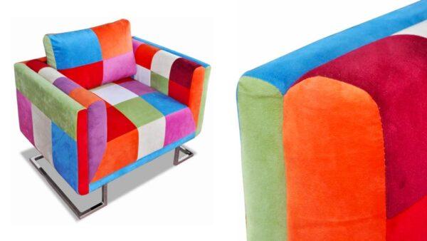 sedia patchwork vintage colorata