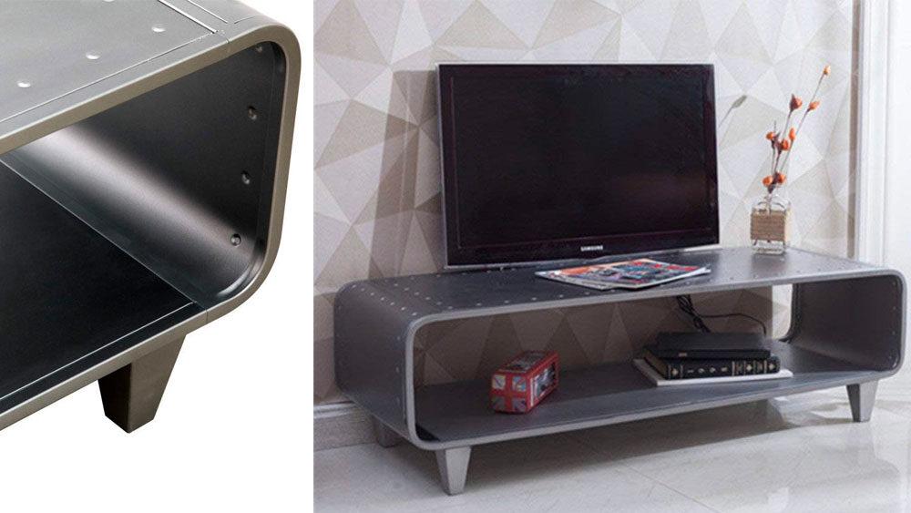 mobile per televisore in acciaio aperto