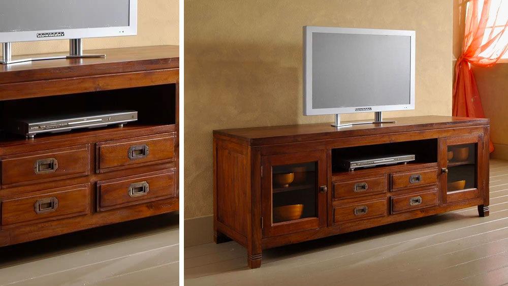 Porta TV con cassetti in legno massello