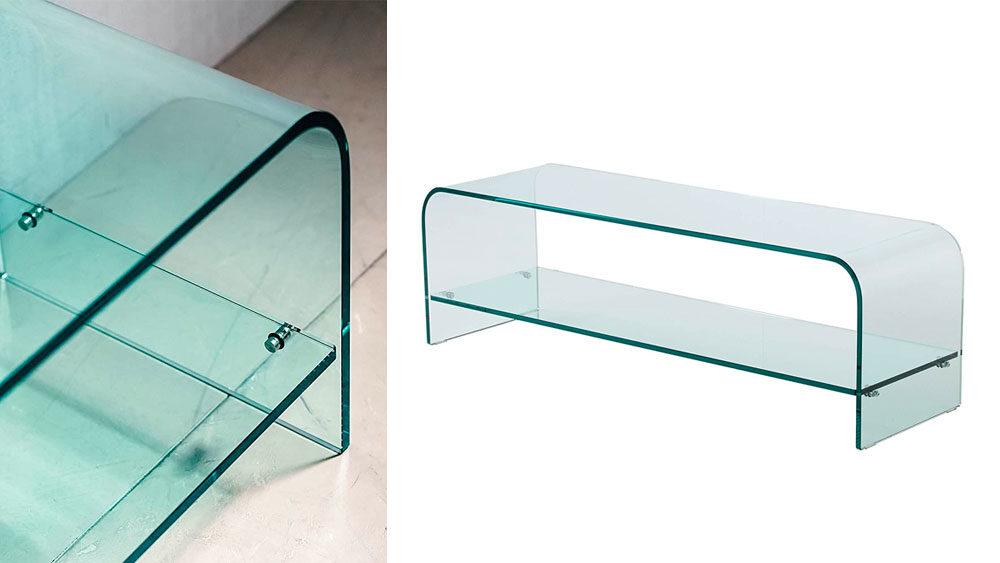 mobile per televisore in vetro curvo