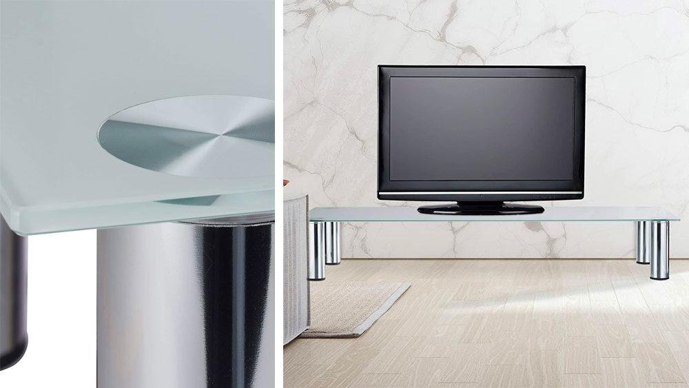 mobile per televisore in vetro moderno e ambientato