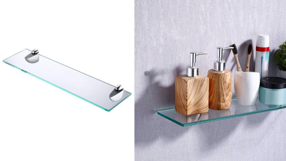 mensola di design in vetro utilizzata in un bagno